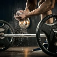 Athlete getting ready for weight lifting training