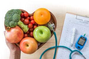 healthy food in a heart shape